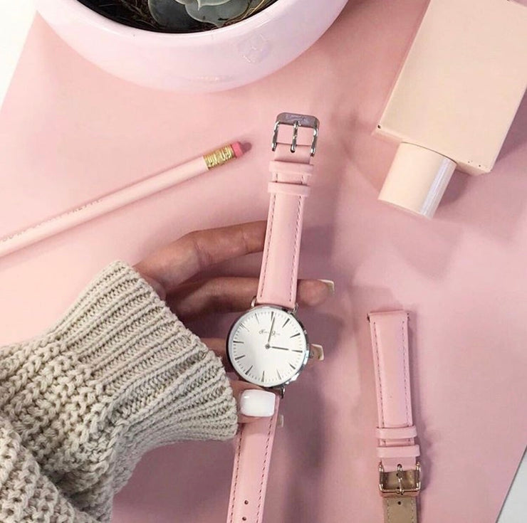 Pink Leather (Silver/White)