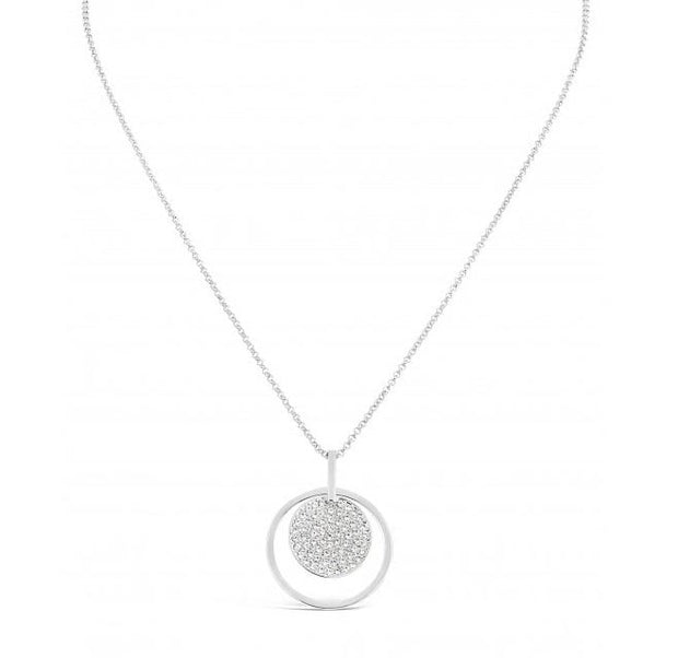 Silver Circle Crystal Pendant Necklace - Harper Rose