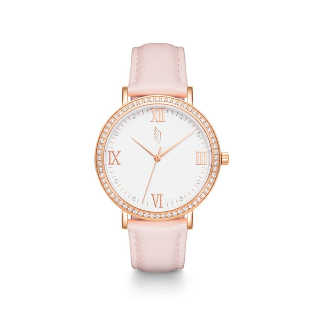 Pink Leather Women's Watch | Ladies Swarovski Watch | Harper Rose
