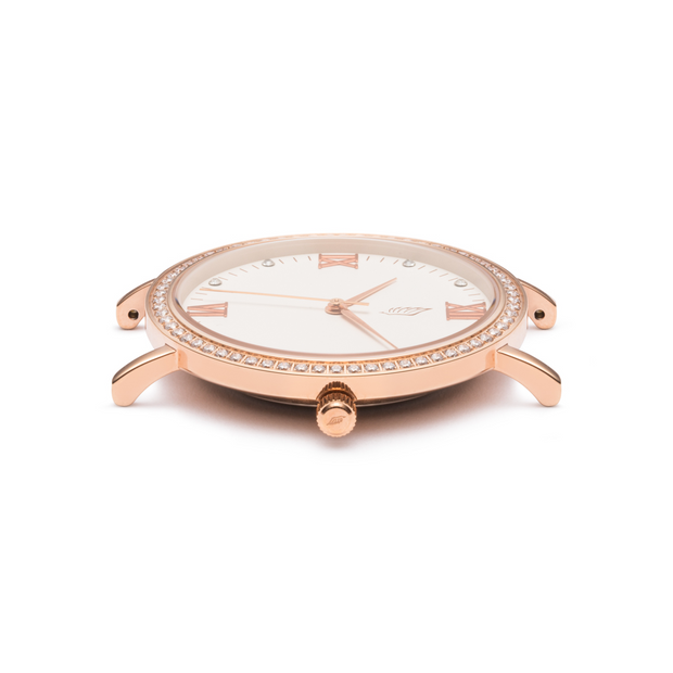 Side view of a Rose Gold and White Watch with a Swarovski Crystal Bezel.