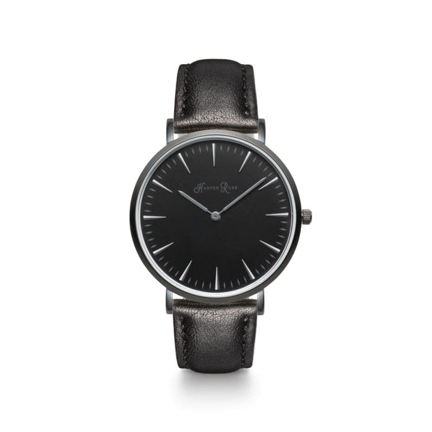 Black Watch with Black Leather Strap (Black/Black) - Harper Rose