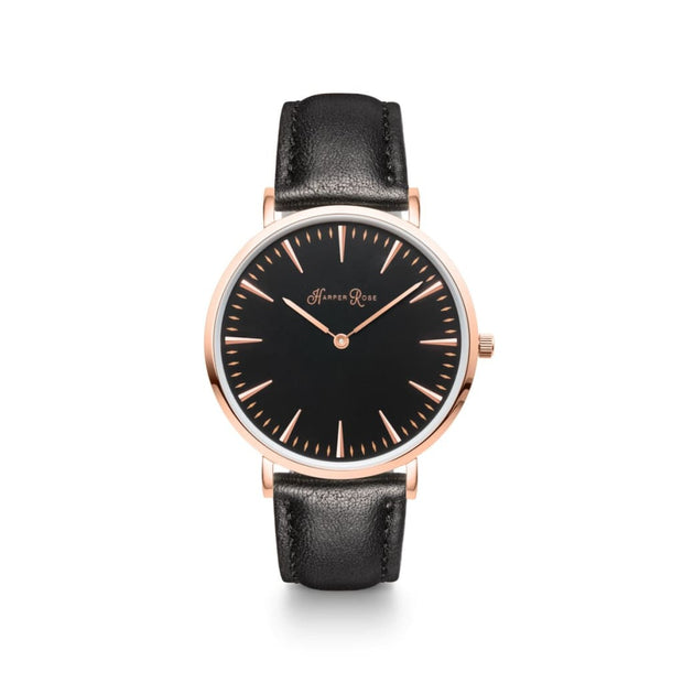 Black Leather Strap (Rose Gold/Black) - Harper Rose