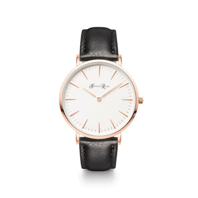 Black Leather (Rose Gold/white) - Watches
