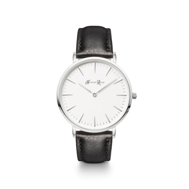 Black Leather Watch | Monochrome Watch Ladies | Harper Rose