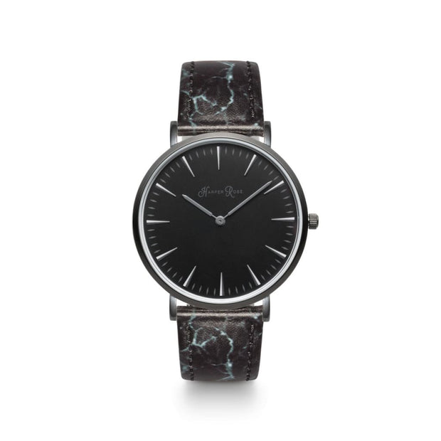 Black Marble Watch with All-Black Details | Ladies Black Watches