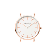 Classic, Elegant Black Womens Leather Watch with a White and Rose Gold Face