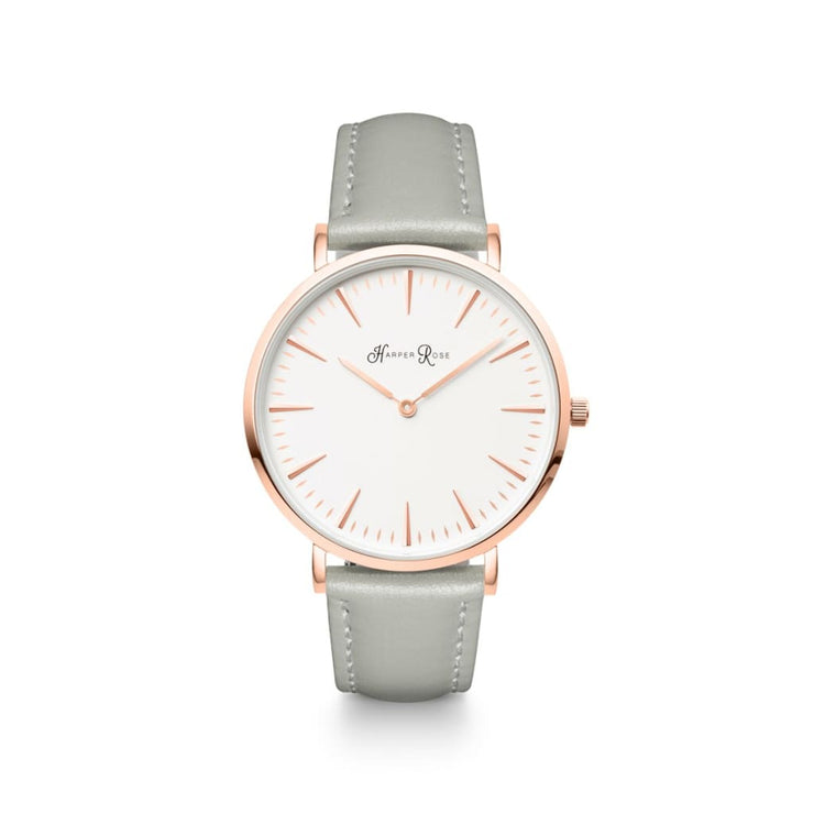 Grey Leather (Rose Gold/white) - Watches