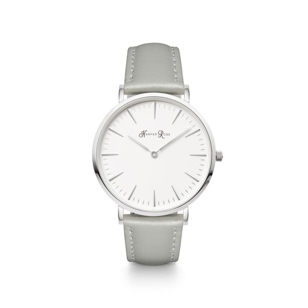 Grey Leather (Silver/white) - Watches
