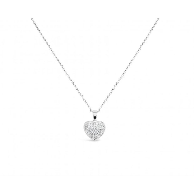 Silver Heart Crystal Pendant Necklace - Harper Rose