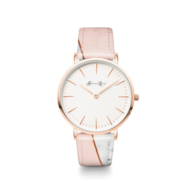 Pink Geo Marble (Rose Gold/white) - Watches