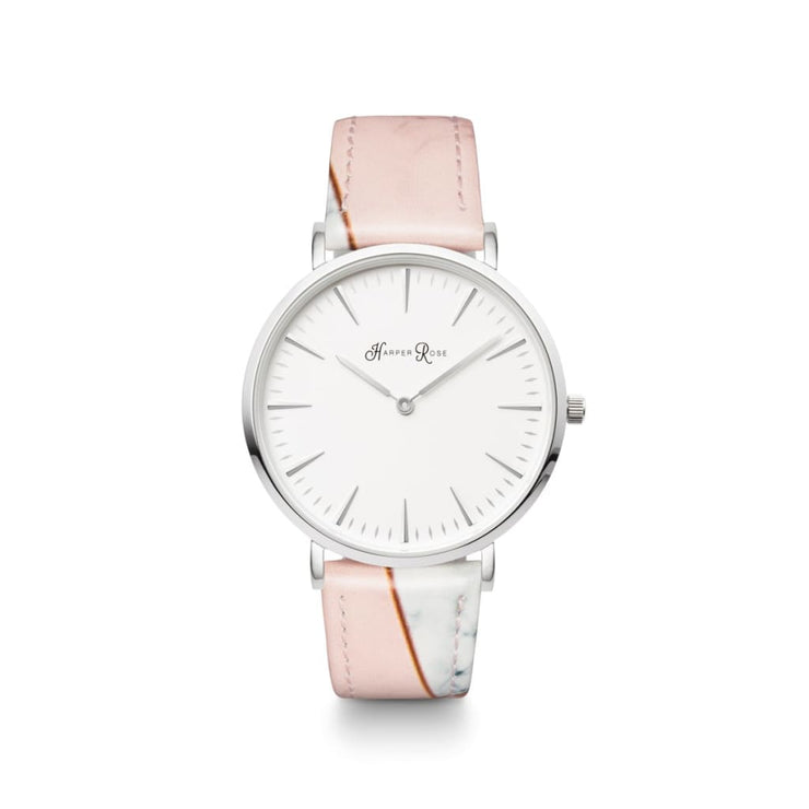 Pink Geo Marble (Silver/white) - Watches