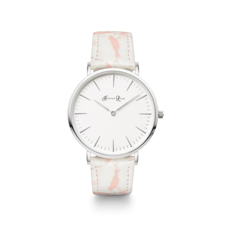 Pink Marble (Silver/white) - Watches