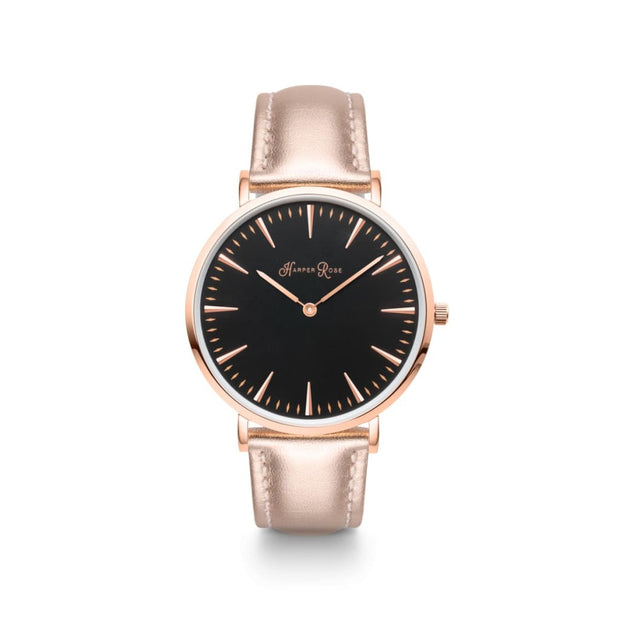 Rose Gold Leather (Rose Gold/Black) - Harper Rose