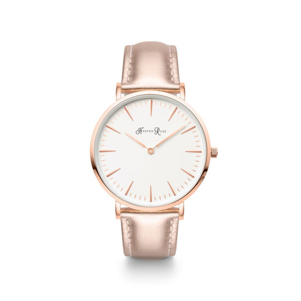 Rose Gold Leather (Rose Gold/white) - Watches