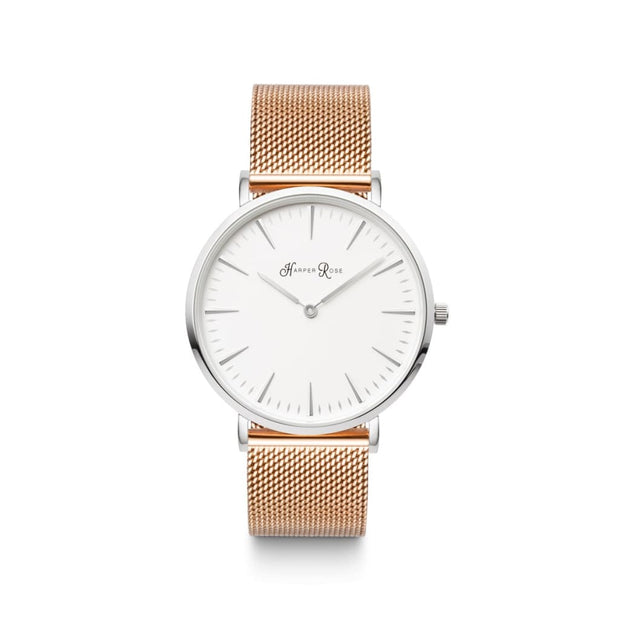 Rose Gold Mesh (Silver/white) - Watches