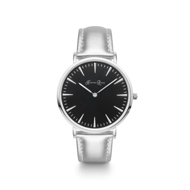 Silver Leather (Silver/black) - Watches