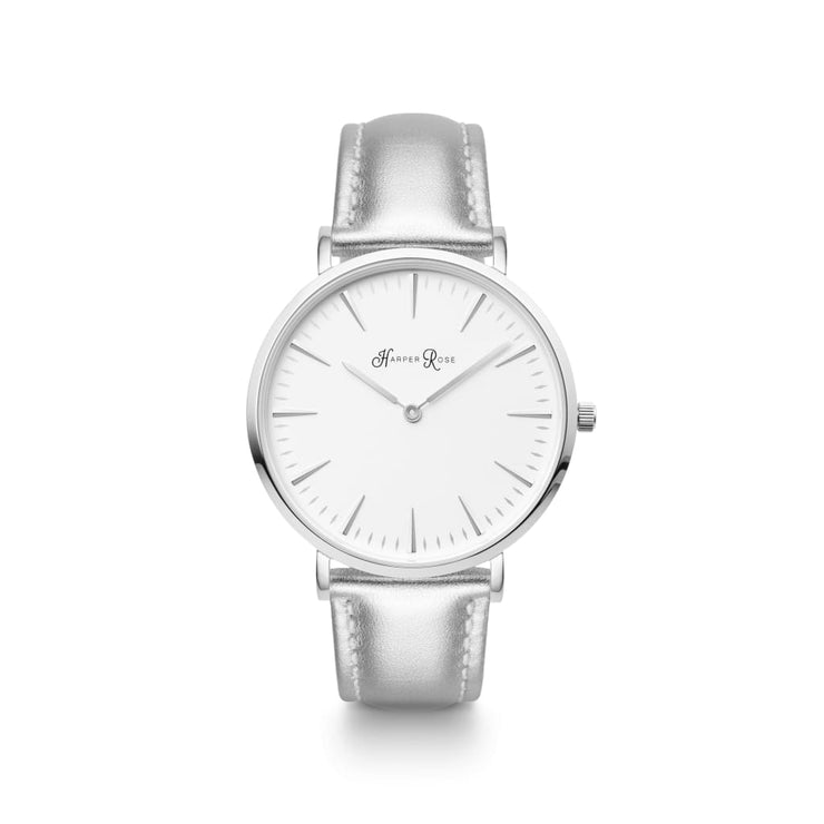 Silver Leather (Silver/white) - Watches