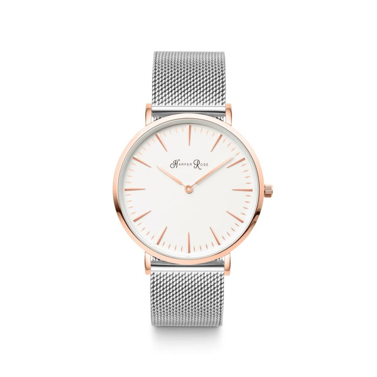 Silver Mesh (Rose Gold/white) - Watches