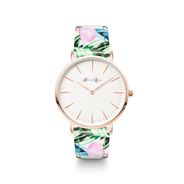 Tropical Leather (Rose Gold/white) - Watches