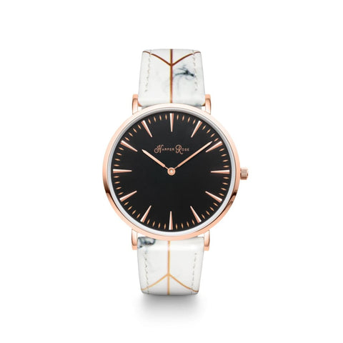 White Geo Marble (Rose Gold/black) - Watches