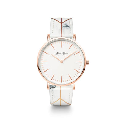 White Geo Marble (Rose Gold/white) - Watches