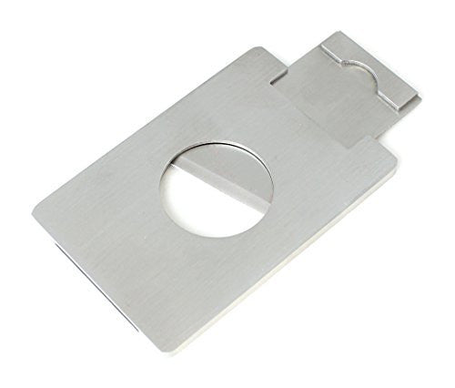 Small Travel Size Cigar Cutter Guillotine Style Brushed Steel Casing and Blade - Measures 2 1/2