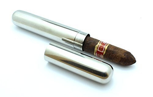 Stainless Steel Cigar Tube Travel Case Slip Cap - 6 1/2