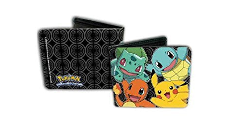 Pokemon 4 Characters (Squirtle, Bulbasaur, Pikachu, Charmander) Bifold Leather Wallet