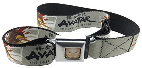Avatar The Last Air Bender Aang Face Seatbelt Belt Airbending Pose Black Orange