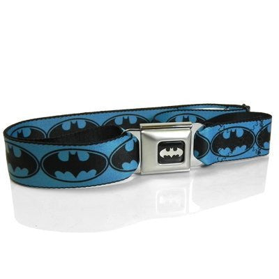 Batman Logo Seatbelt Buckle Blue Strap Belt, 24 to 44 inch waist