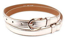 "Womens Thin Skinny Stitched Leather Belt Solid Color 6/8"" Wide - Adjustable Size 27"" to 45"""