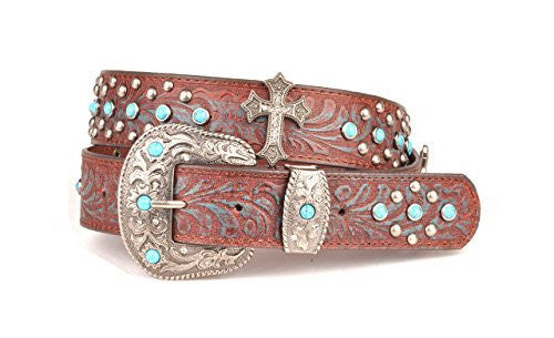 Womens Embossed Brown and Blue Leather Belt Light Blue Stones Metal Cross Western Buckle