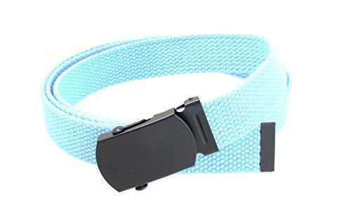 Kids Canvas Web Belt Flat Black Buckle/Tip Solid Color 44