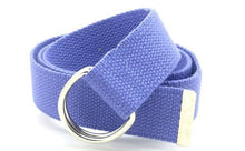 "Canvas Web Belt Double D-Ring Buckle 1.5"" Wide with Metal Tip Solid Color"