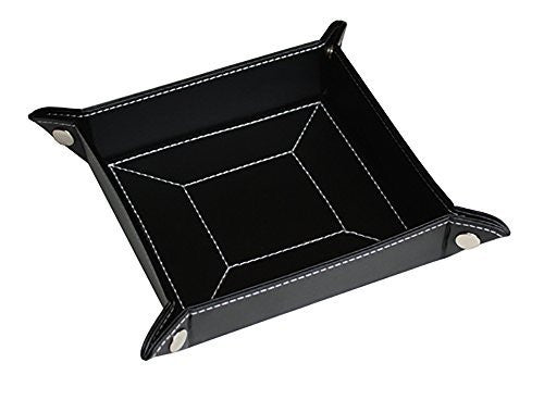 Men's Black Leather Valet and Coin Box - Perfect For Keys Wallet and Watches
