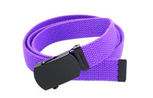 "Kids Canvas Web Belt Flat Black Buckle/Tip Solid Color 44"" Long 1"" Wide"