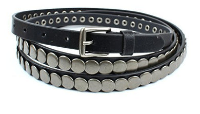 Womens Thin Skinny Double Wrap Leather Belt - Round Metal Studs 5/8