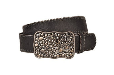 Pewter Jewel Belt Buckle with Embossed Black Leather Belt