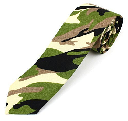 Men's Cotton Skinny Necktie Camouflage Pattern - 2 1/2
