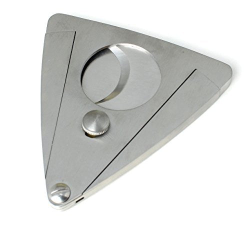 Cigar Cutter Guillotine Style Brushed Stainless Steel Casing and Blades - Cuts Up To 76 Ring Size Cigars
