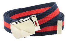 "Canvas Web Belt Nickel Buckle/Tip Colorful Striped Patterns 50"" Long"
