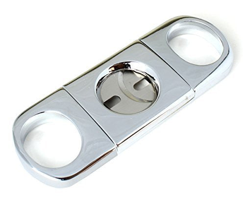 Cigar Cutter Guillotine Style Metal Case Dual Stainless Steel Blades - Heavy Duty Pocket Size