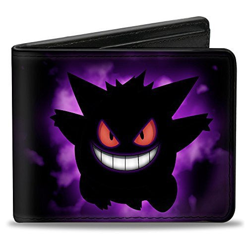 Pokemon Monsters - Gengar Silhouette Pose Purple Fade - Bi-Fold Wallet