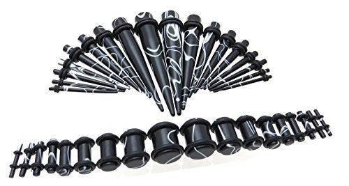 Black and White Marble Acrylic Ear Gauge Taper and Plug Starter Stretching Kit - 36 Piece Set