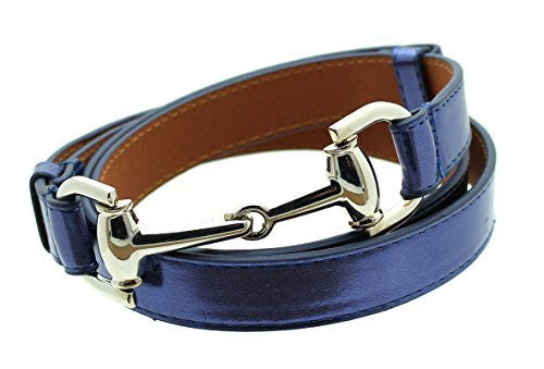 Womens Thin Skinny Metal Tone Leather Belt Horsebit Buckle - Adjustable Size 27