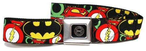 DC Originals Black/Silver Seatbelt - Justice League Stacked Logos Webbing