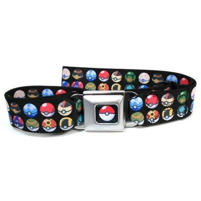 Pokemon Seatbelt Belt - Different Pokemon Poke Balls Stacked Repeating