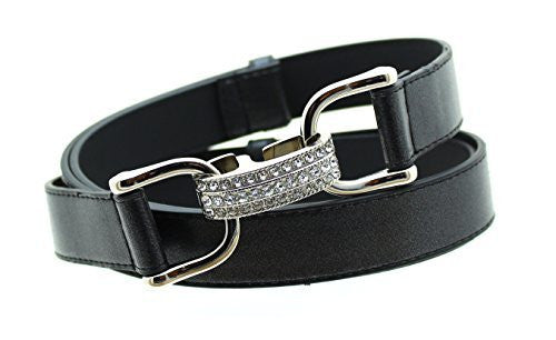 Womens Thin Skinny Edge Stitched Leather Belt Rhinestone Buckle - Adjustable Size 27