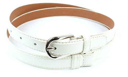 Womens Thin Skinny Stitched Leather Belt Solid Color 6/8
