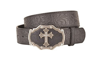 Womens Embossed Pattern Black Leather Belt Silver Cross and Black Buckle